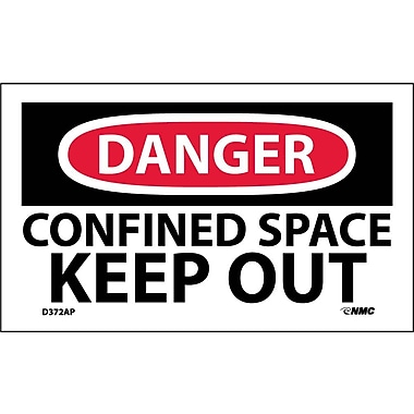 Labels - Danger, Confined Space Keep Out, 3X5, Adhesive Vinyl, 5/Pk