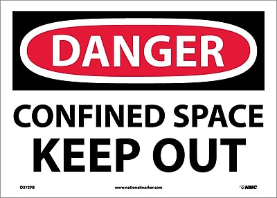 Danger, Confined Space Keep Out, 10X14, Adhesive Vinyl