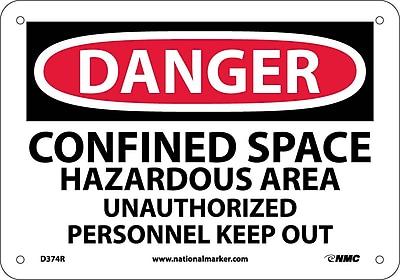 Danger, Confined Space Hazardous Area, Unauthorized Personnel Keep Out, 10X14, .050 Rigid Plastic