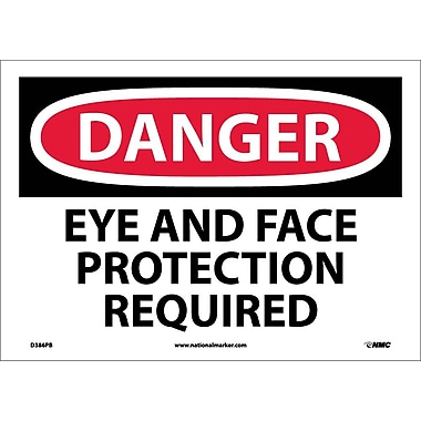 Danger, Eye And Face Protection Required, 10X14, Adhesive Vinyl