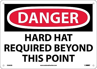 Danger, Hard Hat Required Beyond This Point, 10X14, .040 Aluminum
