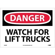 Danger, Watch For Lift Trucks, 10X14, Adhesive Vinyl