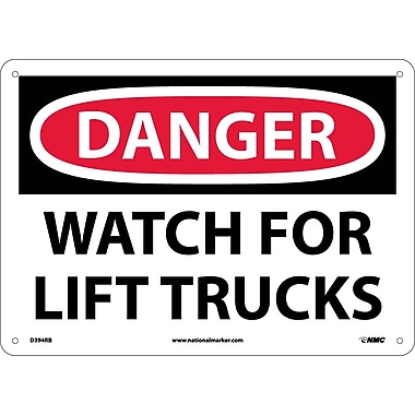 Danger, Watch For Lift Trucks, 10X14, Rigid Plastic