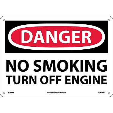 Danger, No Smoking Turn Off Engine, 10X14, Rigid Plastic