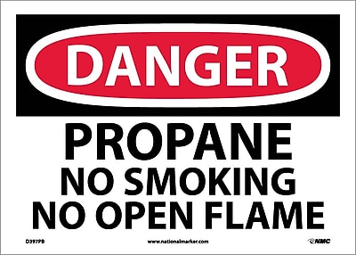 Danger, Propane No Smoking No Open Flame, 10X14, Adhesive Vinyl