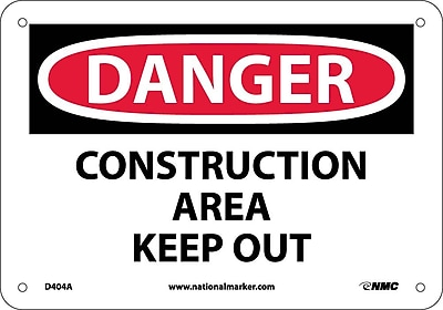 Danger, Construction Area Keep Out, 7X10, .040 Aluminum