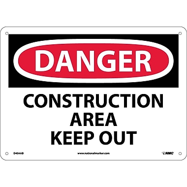 Danger, Construction Area Keep Out, 10X14, .040 Aluminum