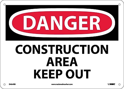 Danger, Construction Area Keep Out, 10X14, Rigid Plastic