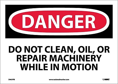 Danger, Do Not Clean Oil Or Repair Machinery, 10X14, Adhesive Vinyl