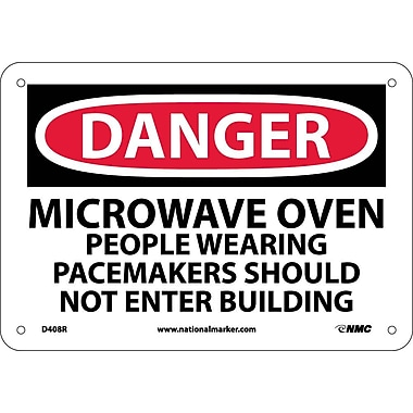 Danger, Microwave Oven People Wearing Pacemakers, 7X10, Rigid Plastic