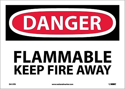Danger, Flammable Keep Fire Away, 10X14, Adhesive Vinyl