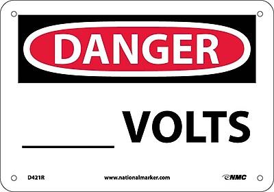Danger, ____ Volts, 7X10, Rigid Plastic