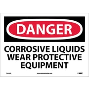 Danger, Corrosive Liquids Wear Protective Equipment, 10X14, Adhesive Vinyl