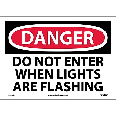 Danger, Do Not Enter When Lights Are Flash. . ., 10X14, Adhesive Vinyl