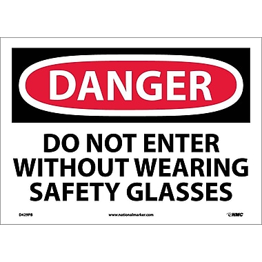 Danger, Do Not Enter Without Wearing Safety. . ., 10X14, Adhesive Vinyl