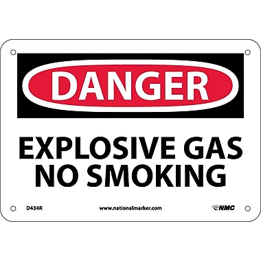 Danger, Explosive Gas No Smoking, 7X10, Rigid Plastic