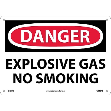 Danger, Explosive Gas No Smoking, 10X14, Rigid Plastic