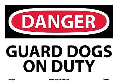 Danger, Guard Dogs On Duty, 10X14, Adhesive Vinyl