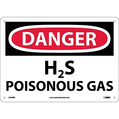 Danger, H2S Poisonous Gas, 10X14, Rigid Plastic