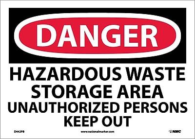 Danger, Hazardous Waste Storage Area Unauthorized. . ., 10X14, Adhesive Vinyl