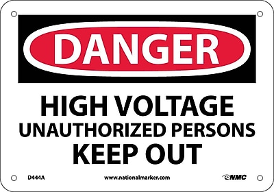 Danger, High Voltage Unauthorized Personnel Keep Out, 7X10, .040 Aluminum
