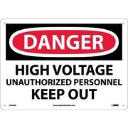 Danger, High Voltage Unauthorized Personnel Keep. . ., 10X14, .040 Aluminum