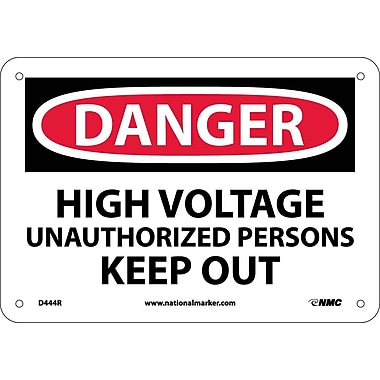 Danger, High Voltage Unauthorizrd Personnel Keep. . ., 7X10, Rigid Plastic
