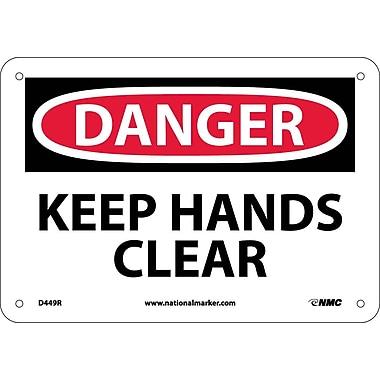 Danger, Keep Hands Clear, 7X10, Rigid Plastic