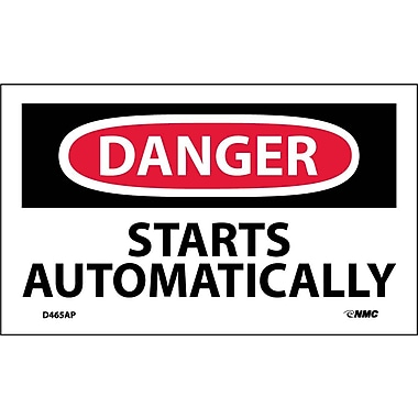 Labels Danger, Starts Automatically, 3