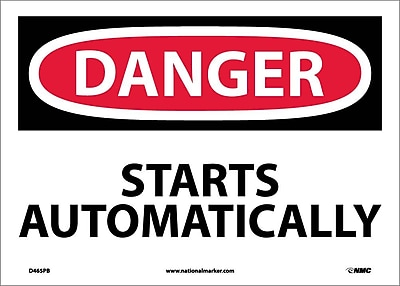 Danger, Starts Automatically, 10X14, Adhesive Vinyl