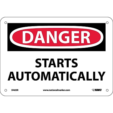 Danger, Starts Automatically, 7X10, Rigid Plastic