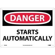 Danger, Starts Automatically, 10X14, Rigid Plastic