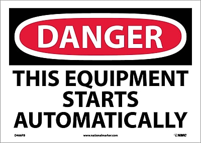 Danger, This Equipment Starts Automatically, 10X14, Adhesive Vinyl