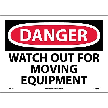 Danger, Watch Out For Moving Equipment, 10X14, Adhesive Vinyl