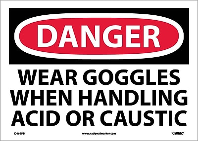 Danger, Wear Goggles When Handling Acid Or. . ., 10X14, Adhesive Vinyl