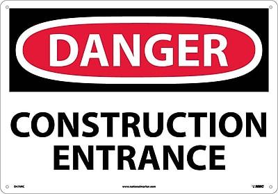 Danger, Construction Entrance, 14X20, Rigid Plastic