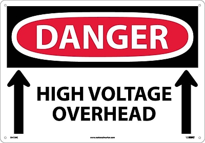 Danger, High Voltage Overhead (Up Arrows), 14X20, Rigid Plastic