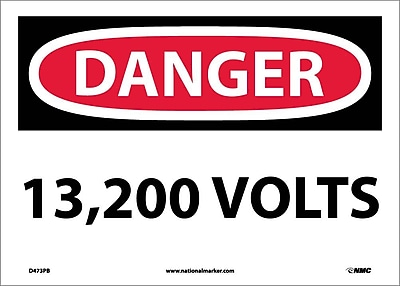 Danger, 13,200 Volts, 10X14, Adhesive Vinyl