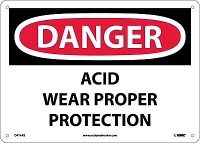 Danger, Acid Wear Proper Protection, 10X14, .040 Aluminum