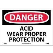 Danger, Acid Wear Proper Protection, 10X14, Adhesive Vinyl
