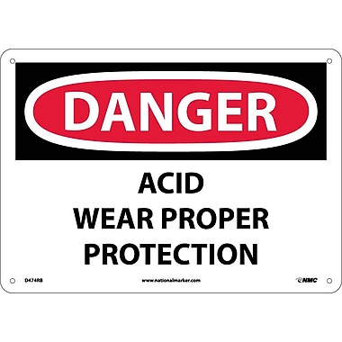 Danger, Acid Wear Proper Protection, 10X14, Rigid Plastic