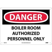 Danger, Boiler Room Authorized Personnel Only, 10X14, .040 Aluminum