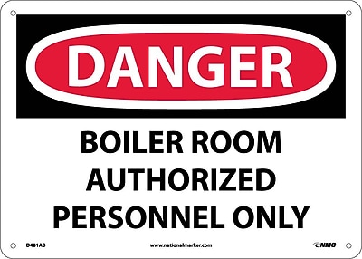 Danger, Boiler Room Authorized Personnel Only, 10X14, .040 Aluminum