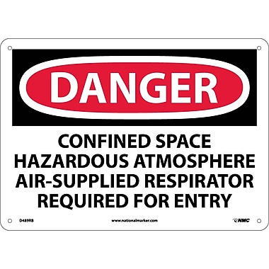 Danger, Confined Space Hazardous Atmosphere Air-Supplied Respirator Required for Entry, 10