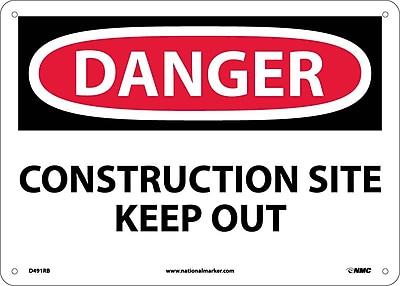 Danger, Construction Site Keep Out, 10X14, Rigid Plastic