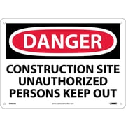 Danger, Construction Site Unauthorized Persons Keep Out, 10X14, .040 Aluminum
