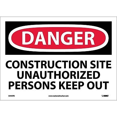 Danger, Construction Site Unauthorized Persons Keep Out, 10X14, Adhesive Vinyl