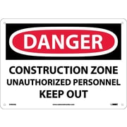 Danger, Construction Zone Unauthorized Personnel Keep Out, 10X14, .040 Aluminum