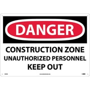 Danger, Construction Zone Unauthorized Personnel Keep Out, 14X20, Rigid Plastic