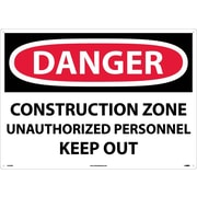 Danger, Construction Zone Unauthorized Personnel Keep Out, 20X28, Rigid Plastic